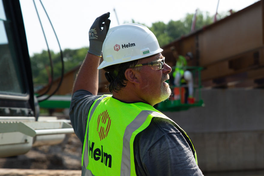 A Helm employee on site
