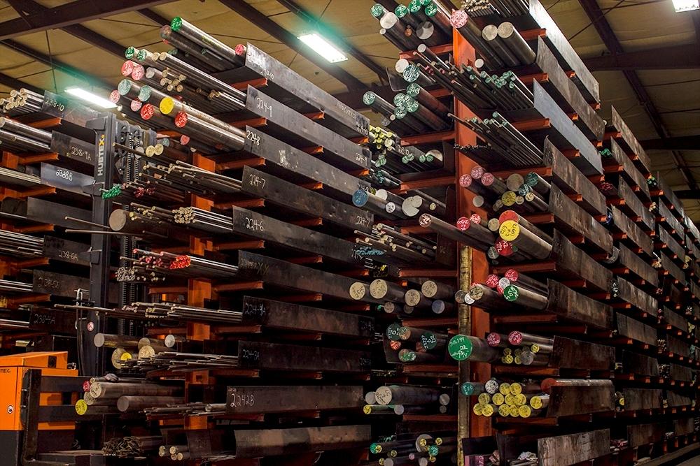 Rows of graded steel